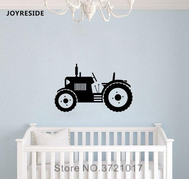 JOYRESIDE Petani Traktor Trailer Ban Besar Dinding Kerja Kendaraan Decal Vinyl Stiker Dekorasi Anak Laki-laki Ruang Anak Anak Balita MuralA395