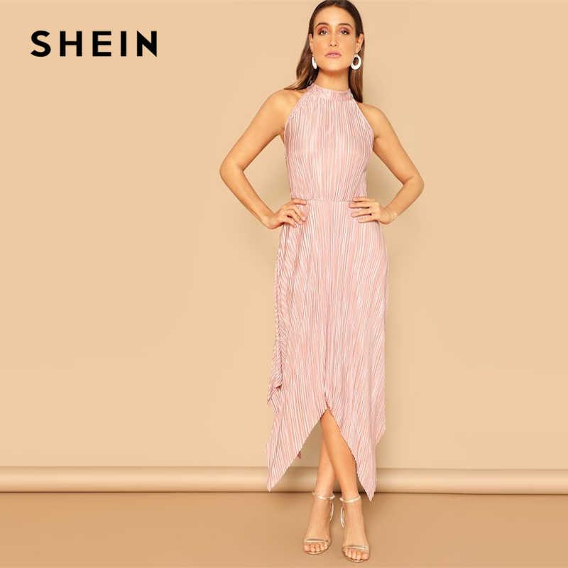 dae9c3d37e ... SHEIN Pink Hem Keyhole Back Pleated Halter Stand Collar Sleeveless Maxi  Plain Dress Women 2019 Spring ...
