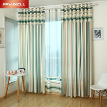 Home Decor Mediterranean Yarn Dyed  Striped tulle Window Curtains For living Room/ Bedroom Woven Blackout
