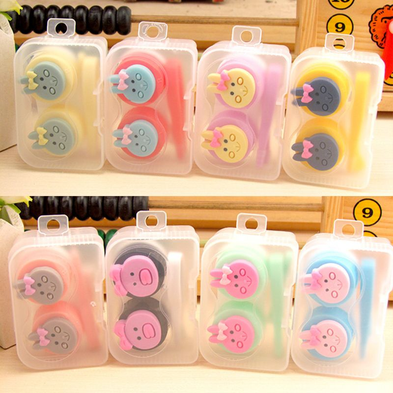 1 Set Contact Lens Box Cute Cartoon Rabbit Girls Case Storage Container Kit Glasses Boxes Portable Travel Tools