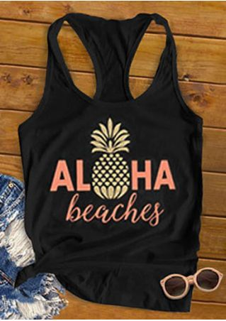 New Women Tank Tops Summer Sleeveless Aloha Beaches Pineapple Racerback Tank Tops Fashion Summer Casual O-Neck Ladies Tops Tee
