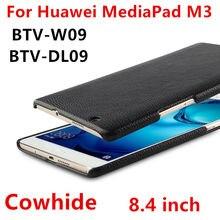 Caso de Cuero Para Huawei MediaPad M3 8.4 Concha Protectora Inteligente fundas de Cuero Genuino Tablet PC Para huawei m3 BTV-W09 DL09 casos