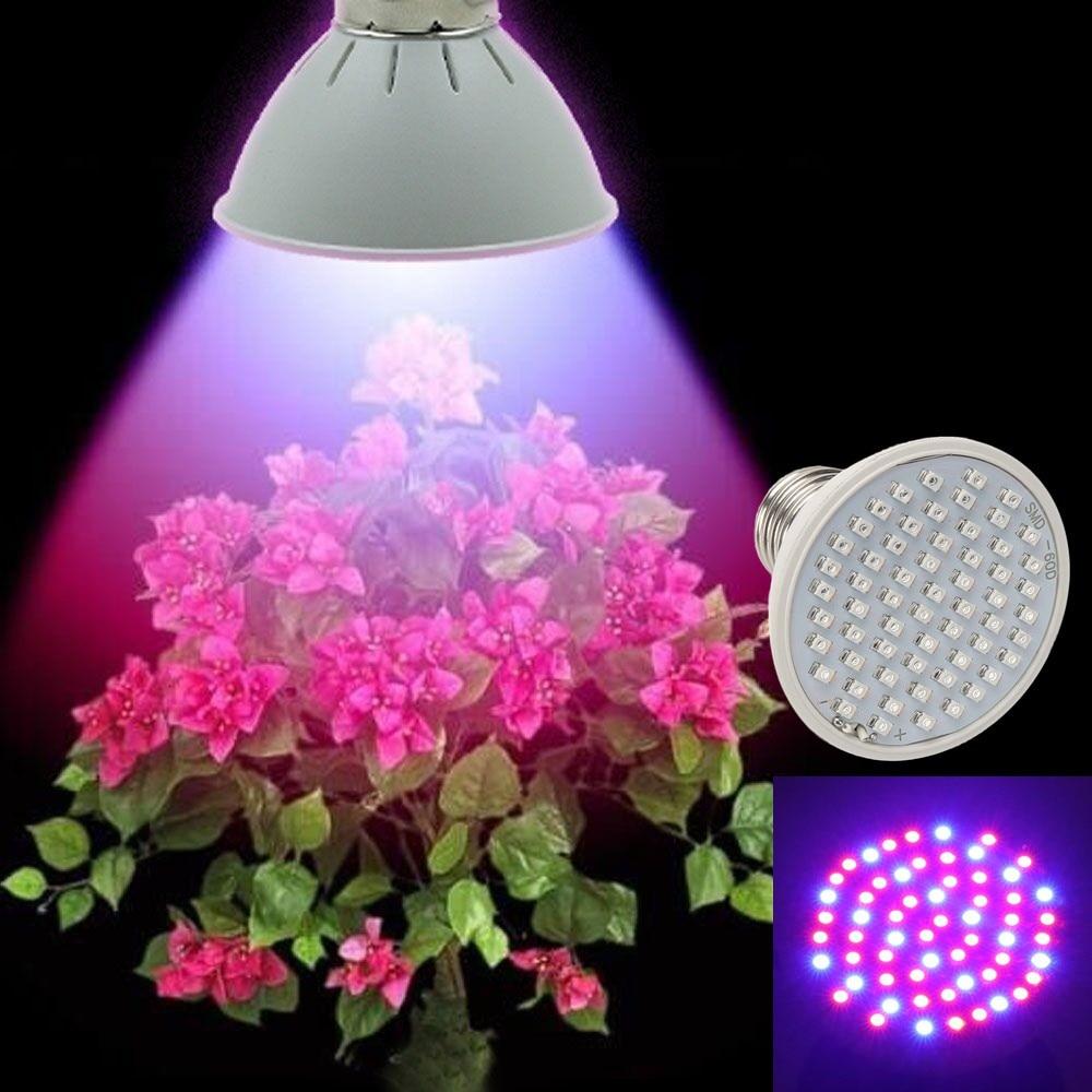 60LEDs چراغ رشد گیاه چراغ چراغ رشد E27 AC85-265V گل آبی کامل طیف گل برای گلدان گیاه داخلی