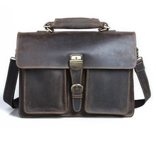 Male Cowhide Briefcase Leather