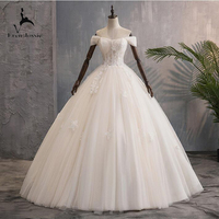 Eren Jossie Cap Sleeves Ivory Tulle Ball Gown Bridal Competitive Price Appliques Bandage Wedding Dress Floor Length Design