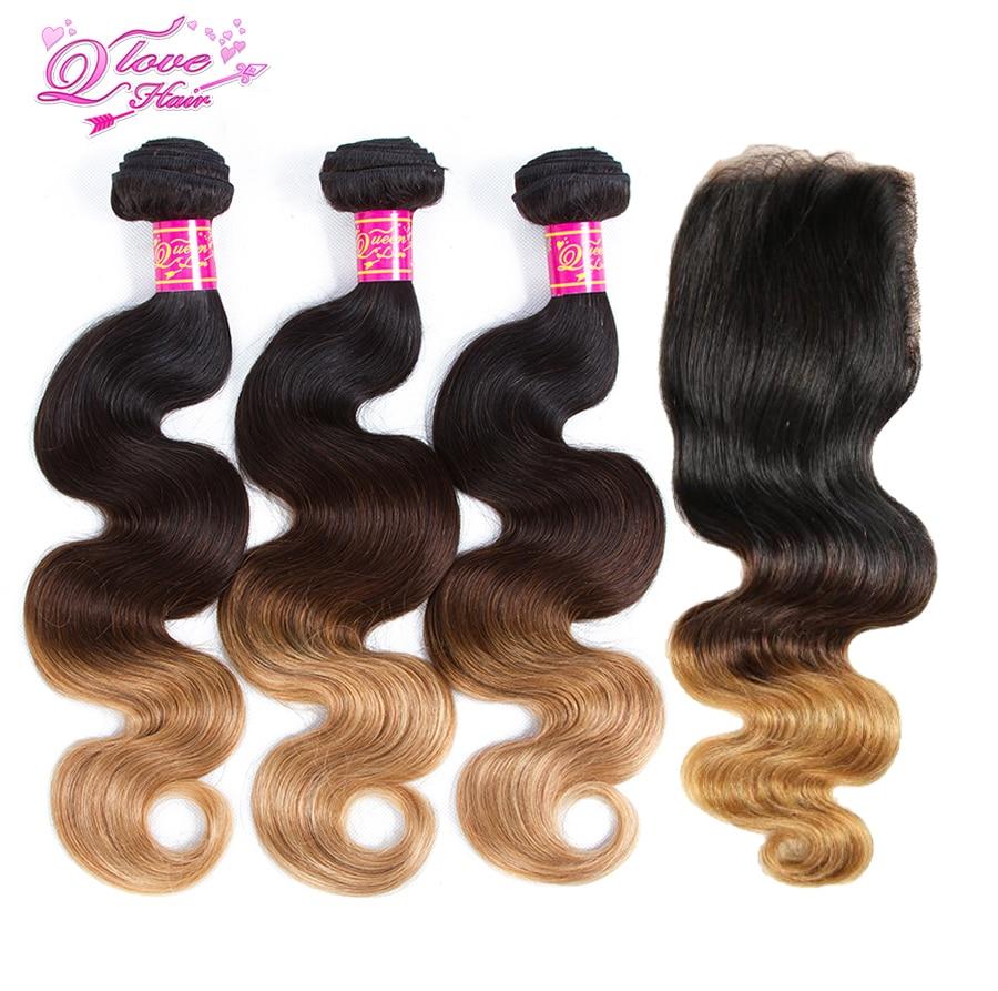 Queen Love Hair 3 Tone Ombre  1B/4/27 Brazilian Hair Bundles Body Wave Non Remy 3 Bundles With Closure Human Hair