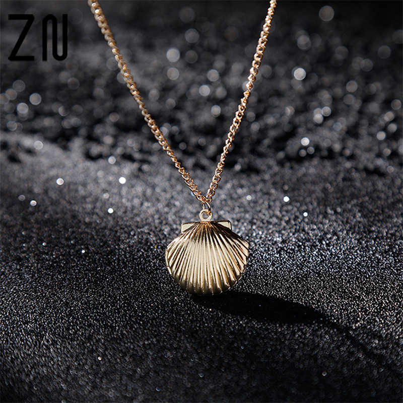 New Pendant Elegant Clam Beach Mermaid Photo Locket Little Women Sweater Chain Necklace Sea Shell Jewelry