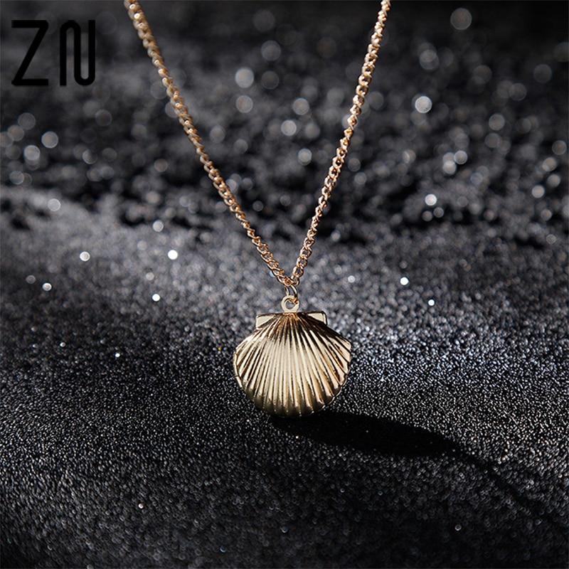 Neue Anhänger Elegante Clam Strand Meerjungfrau Foto Medaillon Wenig Frauen Pullover Kette Halskette Sea Shell Schmuck