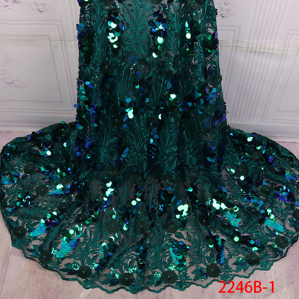 African Sequins Lace Fabric 2019 Nigerian French Tulle Lace with Sequins Embroidery Lace Fabric for Dress