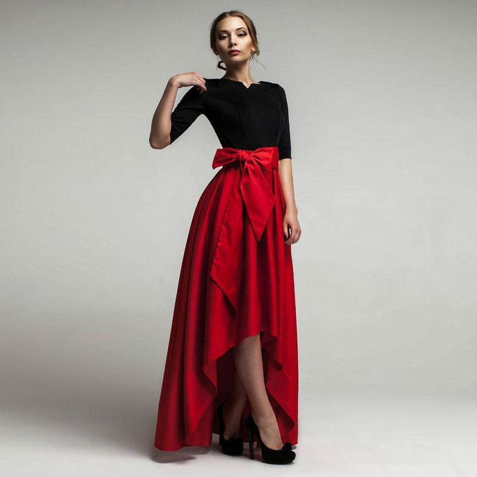 89b6e09506 Fashion High Low Red Satin Womens Skirts Short Front Long Back Pleated With  Bowknot Winter Adults Maxi Skirt Jupe Longue-in Skirts from Women's  Clothing on ...