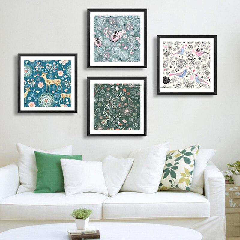 ⓪nordique Fleur Doux Animaux Toile De Peinture Murale Impression