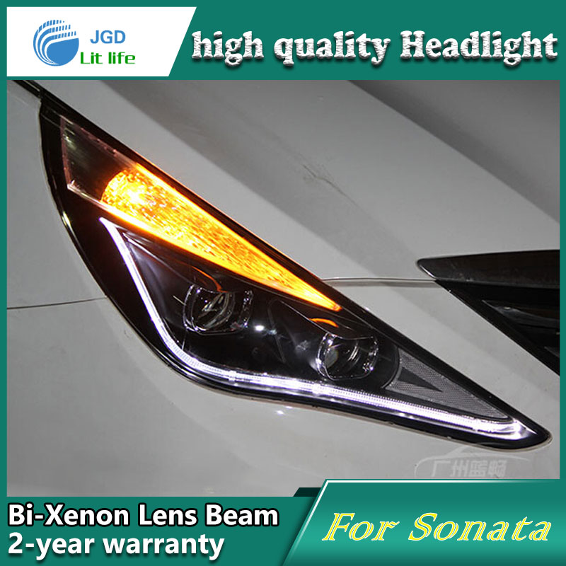 high quality Car styling case for Hyundai Sonata 2008-11 Headlights LED Headlight DRL Lens Double Beam HID Xenon Car Accessories high quality car styling case for mitsubishi lancer ex 2009 2011 headlights led headlight drl lens double beam hid xenon