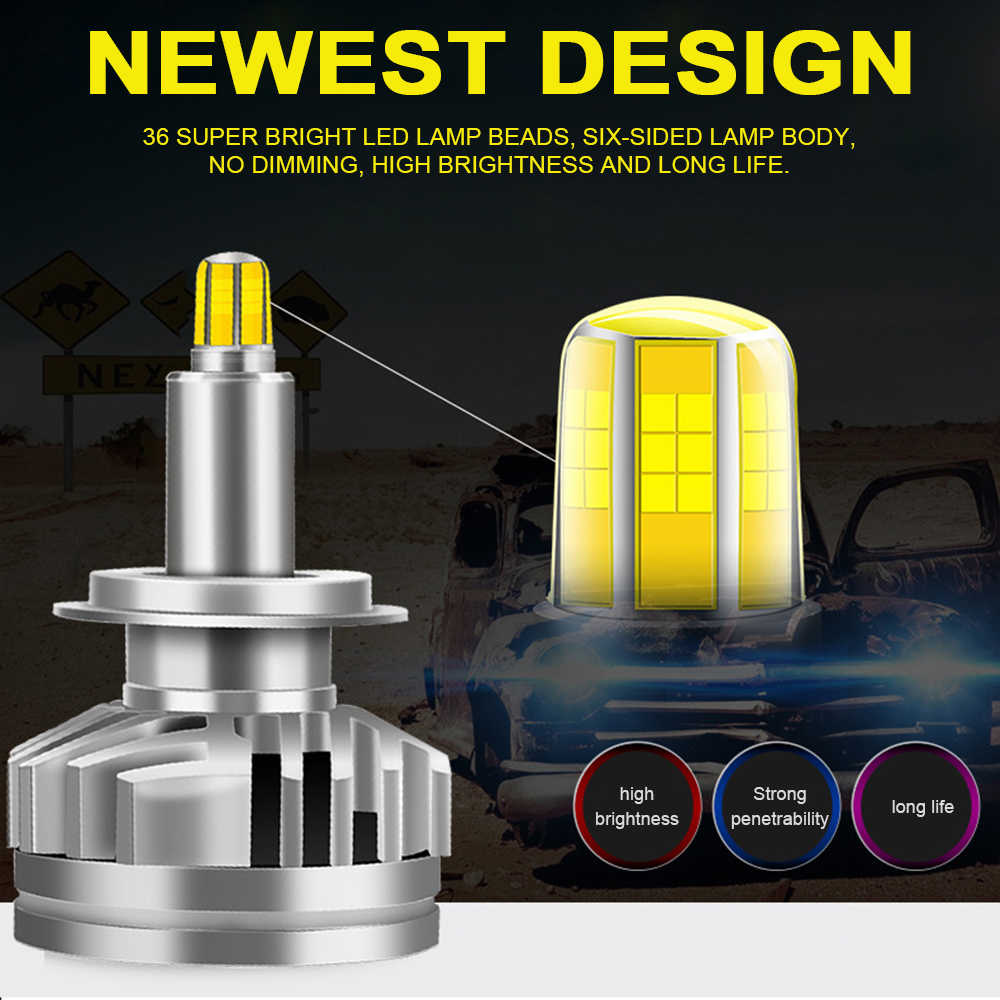 2 PCS 18000LM H1 H7 LED Canbus H8 H11 HB3 9005 HB4 9006 6-sides 3D Led Headlights 100W  Car Light Bulbs 360 degree 6000K