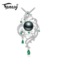 FENASY 925 sterling silver phoenix necklace,pearl jewelry chain necklace,Pearl necklaces & pendants Emerald Bohemian necklace