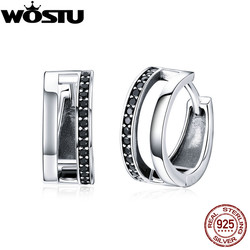 WOSTU Authentic 925 Sterling Silver Black CZ Simple Stud Earrings For Women New Desgin Silver Earring Party Jewelry Gift CQE444