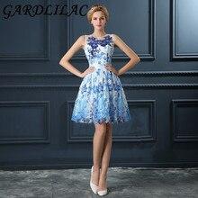 Gardlilac Blue Short Homecoming Dress with Applique Sequin Knee-Length  A-Line Sleeveless Homecoming d6f36d4c80cb