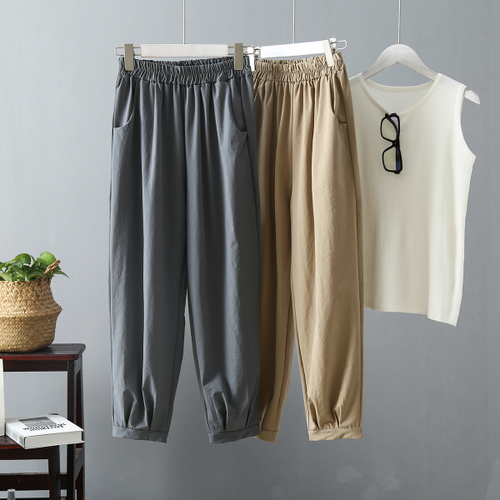 Taille Pantalons Solide 18 Pieds Femmes Elastique Haren Décontractés Petit Ins Coréenne Lâche Version Pantalon De qrpqOPw