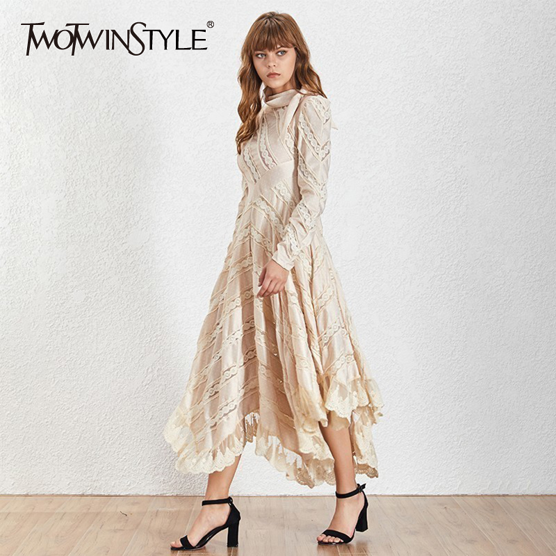 TWOTWINSTYLE Irregular Embroidery Patchwork Dress TDR19630