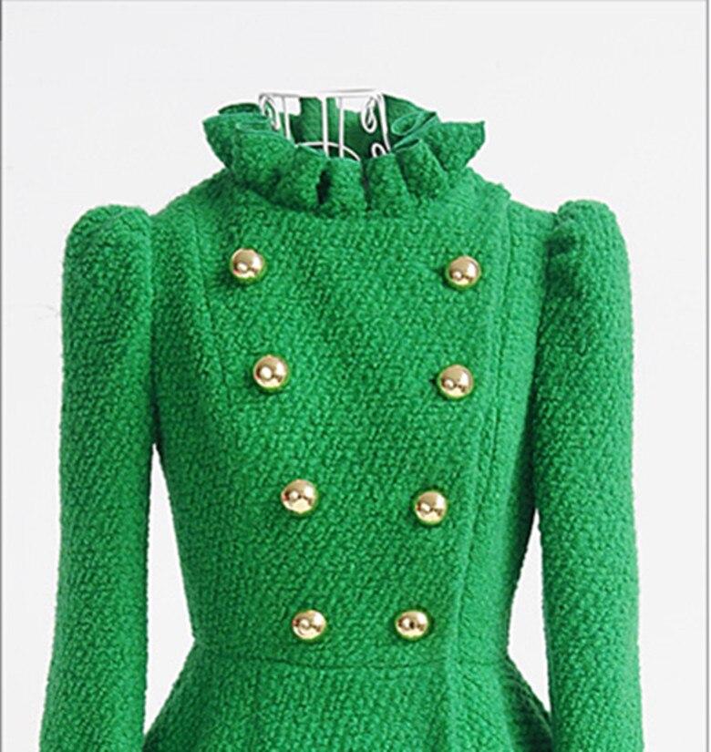 Осенне-зимнее женское тонкое шерстяное пальто с манжетами из искусственного меха, женские длинные Дизайнерские Пальто