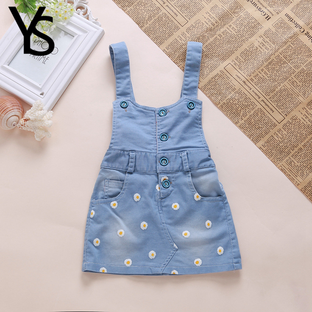 12M 3T Baby Girls Dress Overalls Kids Summer Clothes Denim Jeans Dress Flowers Outfits Toddler Shorts