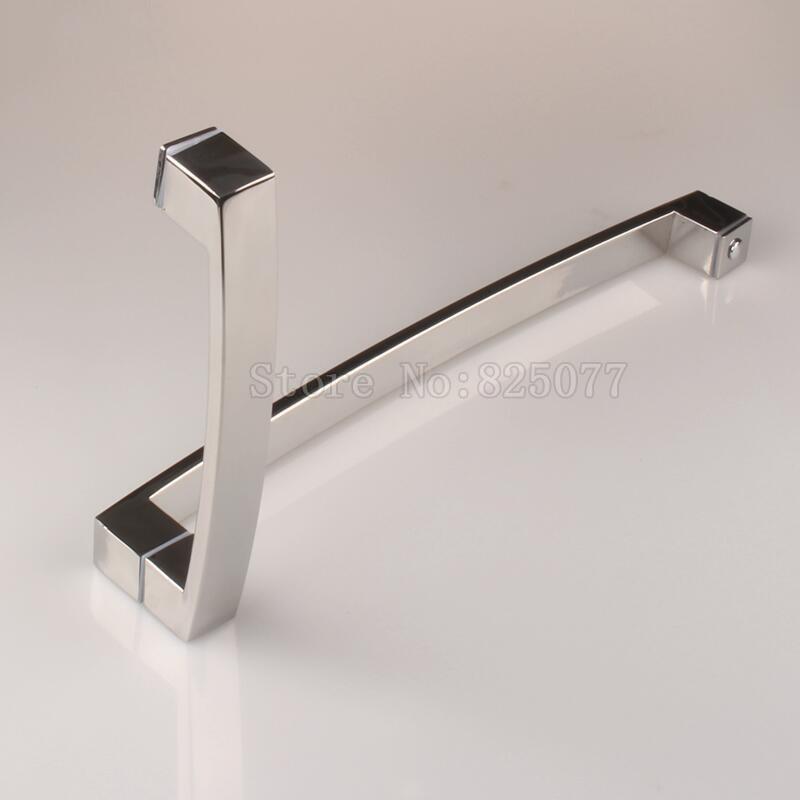 1Pair C-C:425*225mm Bathroom door L handle stainless steel polish chrome shower room glass door handle JF1628 h009 40 bath room shower glass door handle 304 stainless steel polish chrome frame less c c 400mm