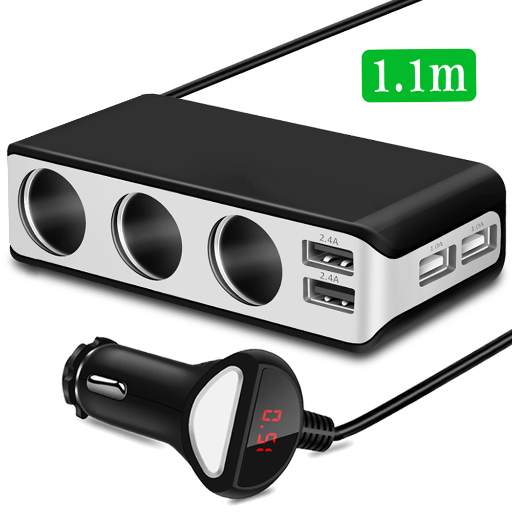 Voltmeter Socket-Splitter Power-Adapter-Charger Car-Cigarette-Lighter Usb-Port 3-Way