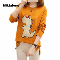Mikialong Embroidery Dinosaur Graphic Tees Women 2017 Harajuku Kawaii T Shirt Cotton Long Sleeve Women Tops