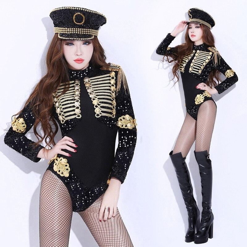 European Style Court Zentai Women Jazz Dance Wear Sexy Black Sequins Mesh Bodysuit Stretch Jumpsuit Nightclub DJ Stage Costumes