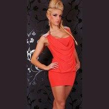 e7f7321aa89d8f Zomer vrouwen jurken sexy Oranje jurk mouwloos Hals mini Feestjurk Nieuwe  Mode Vestido Nachtclub Clubwear