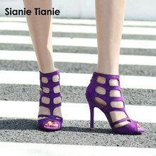 Sianie Tianie Thin High Heels 10cm Women Cut Out Gladiator Sandal Woman Summer Shoes Purple Women Sandals Plus Size 43 44 45 46