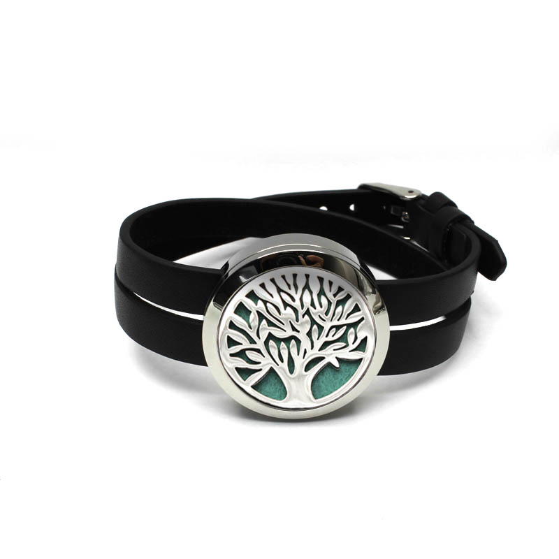 Tree Design Silver Aromatherapy Diffuser pendant Bangle 30MM twist off pendant bracelet Essential oil diffuser Bracelet