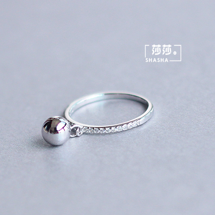 Korean Fashion Silver Color Ball Adjustable Size Rings For Women Ladies Luxury Jewelry Trendy Antique Ring Anillos 2