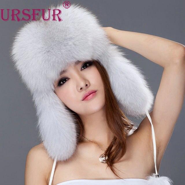 URSFUR Women s Genuine Fox Fur Russian Ushanka Hats With Pom Poms Winter  Ear Flaps Bomber Trapper cap white silver color 1c2dd3fad61