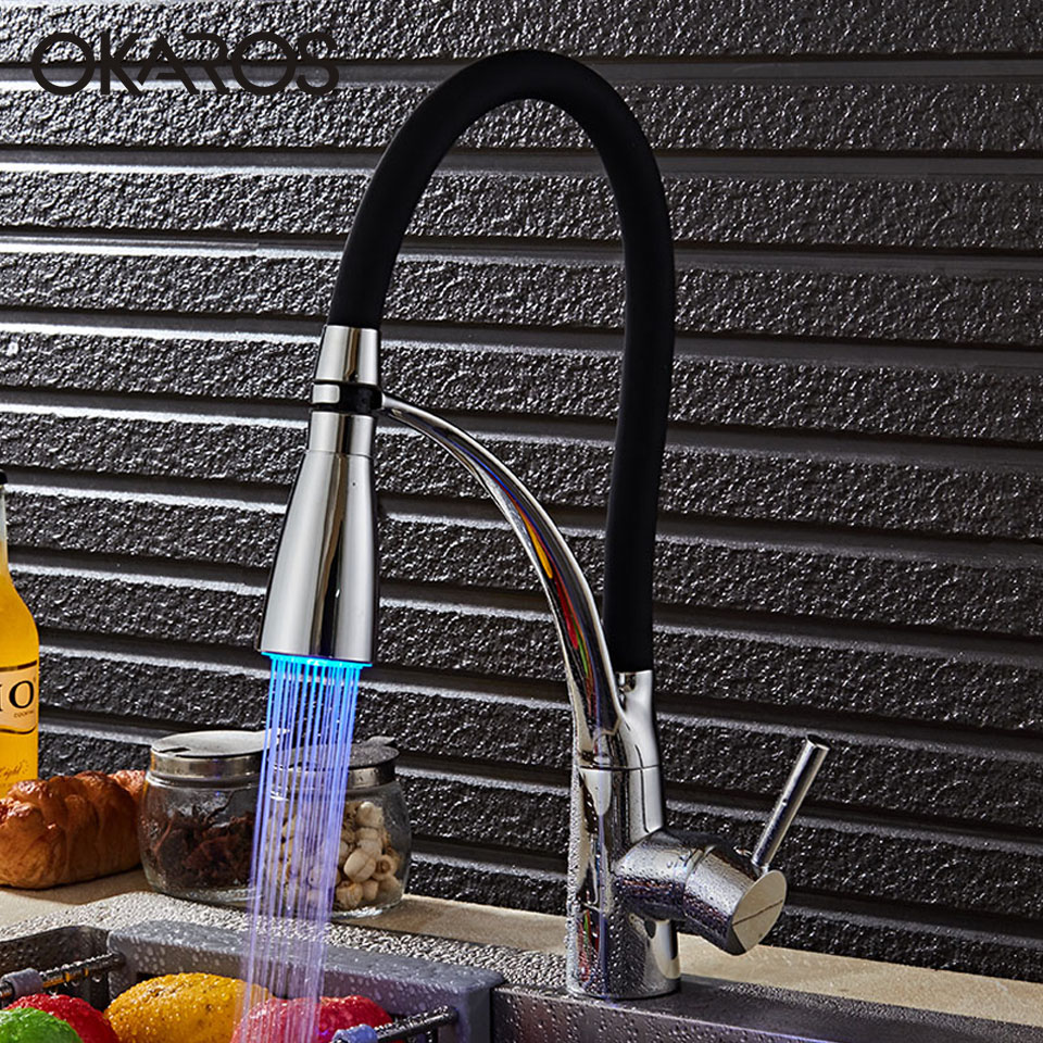 OKAROS Kitchen LED Light Sink Faucet Brass Chrome Plated Kitchen Faucets Black Hot Cold Deck Mounted