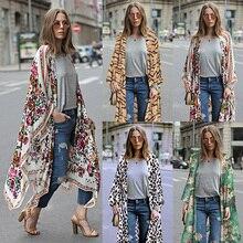 Print Asymmetric Chiffon Boho Long Kimono RK