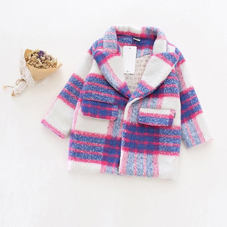 Girl Autumn Winter Woolen coat New 2016 Fashion Baby Girls Wool blazer Coat Jacket Children Outwear romantic purple trench Coat цена
