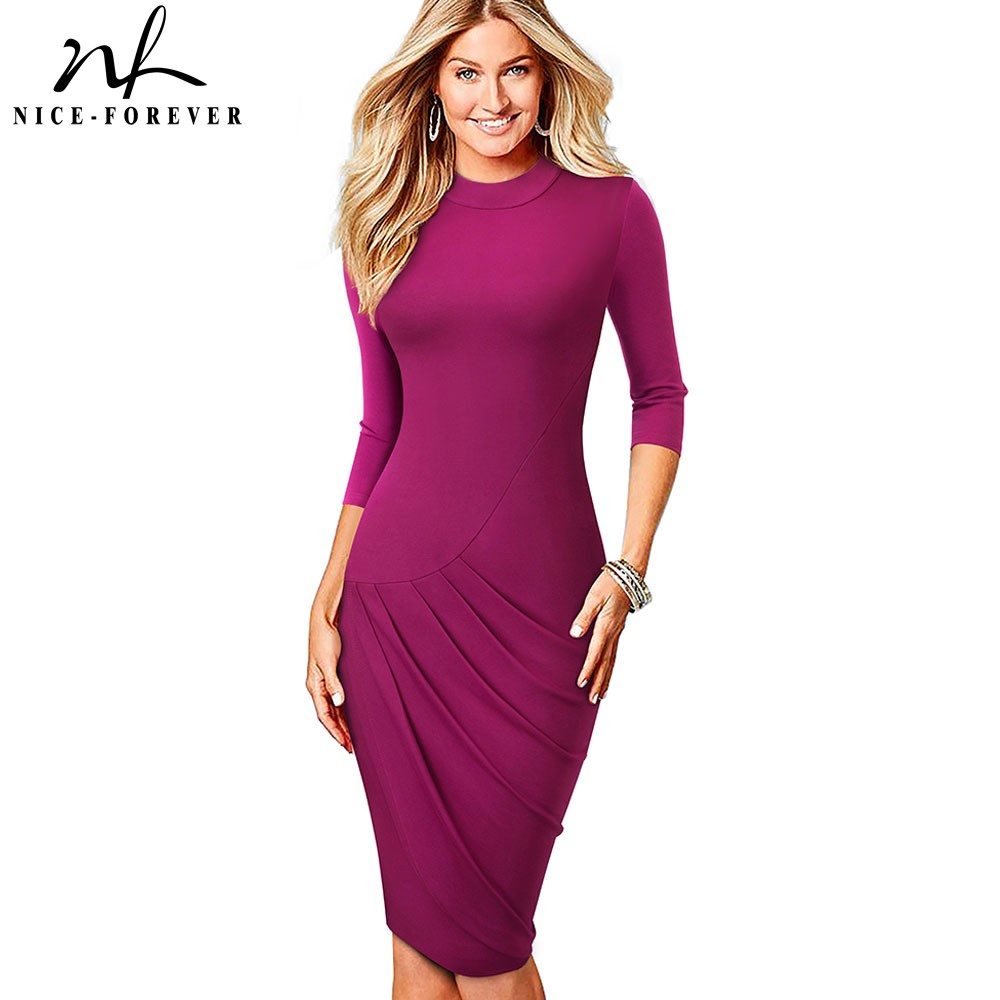 Nice-forever Vintage Pure Color Retro Round Neck Wear To Work Vestidos Business Bodycon Office Party Elegant Women Dress B514