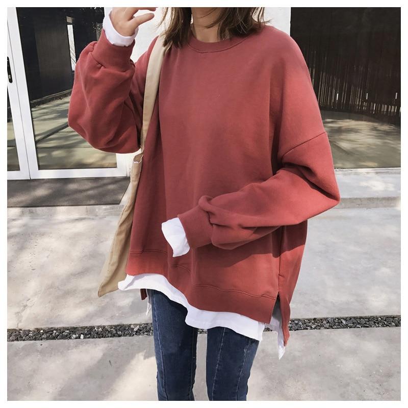Manubeau Loose Harajuku Hoodies Women Oversize Long Sleeves Sweatshirt And Pullovers Large Plus Size Kpop Clothes Outwear Hoodie