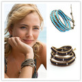 5 Colors Resin Opal Beads Leather Wrap Bracelet Crystal Multilayer Brown Rope Woven Bracelets for Women/Men Jewelry Braccialetti