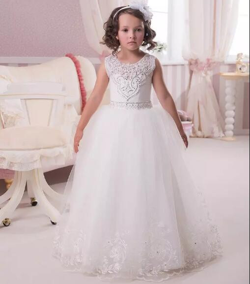 Luxury Puffy Ball Gown White Flower Girl Dress for Wedding Lace Beading Sleeveless Girls First Communion Dress Custom Made