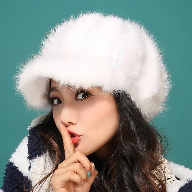 2015 otoño invierno muy cálido por debajo de cero show mujeres verdadera piel de visón ball estilo de rusia vintage lady luxur sombrero de piel famosa banda