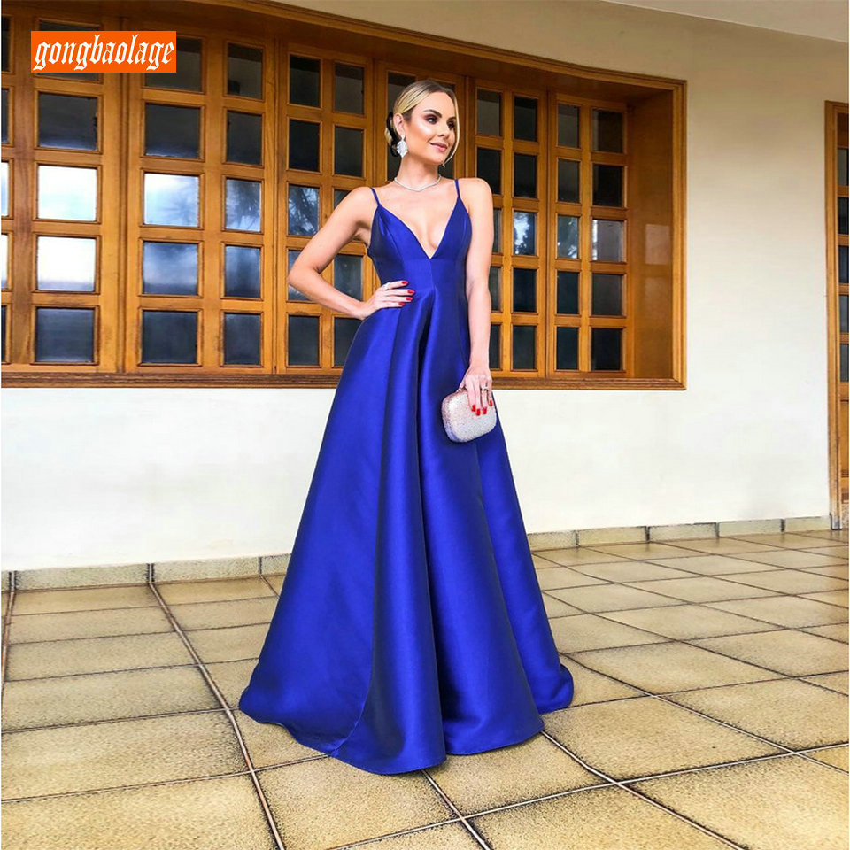 Charming Royal Blue   Evening     Dresses   Long 2019 New Sexy Formal   Dress   Banquet V-Neck Elastic Satin Cheap Women   Evening   Party Gowns