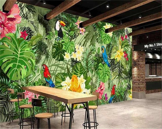 Carta Da Parati Foresta Tropicale : Beibehang carte da parati dipinta a mano pappagallo foresta