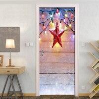 Prancha de fantasia de Natal Lanterna Decoração Da Porta Do Quarto Adesivos Criativo DIY Auto adesivo de Parede Mural Papel De Parede Para Quarto de Crianças|Adesivos p/ porta| |  -