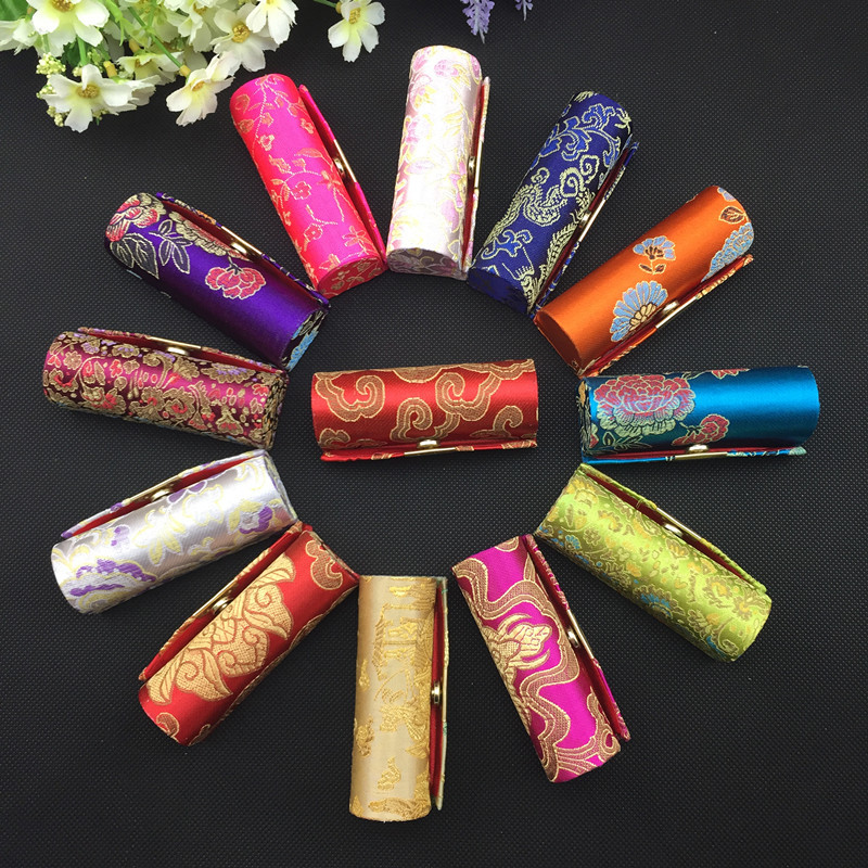 12pcs Silk Lipstick Boxes&Jewelry Boxes&Gift Boxes with Mirror Wholesale Chinese Handmade Vintage