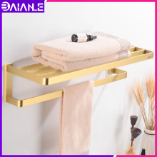цена Bathroom Towel Holder Brass Gold Wall Mounted Towel Rack Hanging Holder Decorative Single Towel Bar Hanger Bathroom Accessories онлайн в 2017 году
