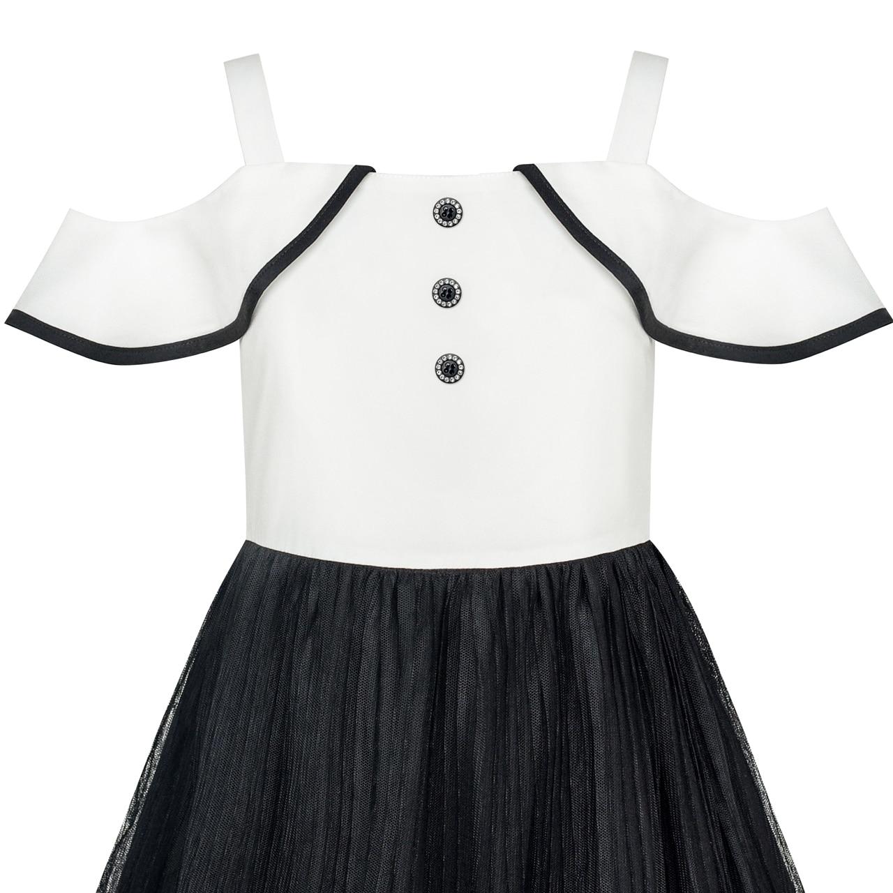 8b69ff12438d7 Sunny Fashion Robe Fille blanc Et Noir Mousseline de soie Dentelle Accueil  froid dans Robes de Mère et Enfants sur AliExpress.com | Alibaba Group