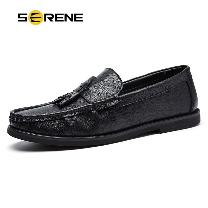 SERENE Brand 2018 Retro British Style Men Casual Leather Loafers Mens Hot Breathable Drive Shoes Fashion Black Slip On Boat Shoe serene brand cow leather boat shoes men casual lace up shoes lightweight breathable loafers slip on shoes men dress shoes 6200