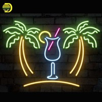 Neon Sign Palm Tree With Cup Neon Bulb Sign Drink Handcrafted Beer Pub Sign Decorate Windows