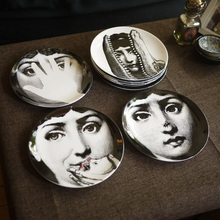 8 Inch Italy Milan Creative Pattern Piero Fornasetti Plates Ceramics Wall Hanging Decorative Background Plate Art Craft Dishes